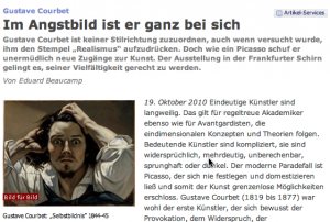Beginn des Courbet-Artikels bei FAZ.NET