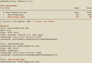 docbook_files: Anzeige fehlender Dateien