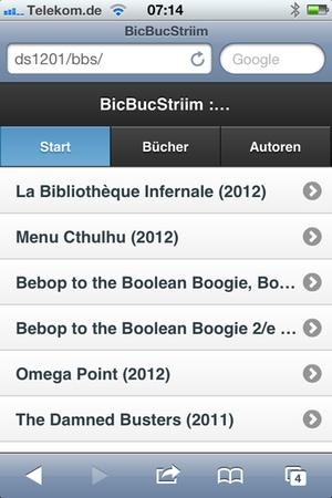 BicBucStriim 0.6.1, Startbildschirm