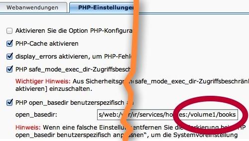 PHP: Das Calibre-Verzeichnis muss freigegeben werden