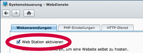 Den Webserver für Benutzerseiten einschalten