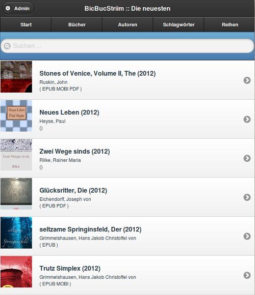 BicBucStriim Startseite, Liste der neuesten Bücher mit Vorschau