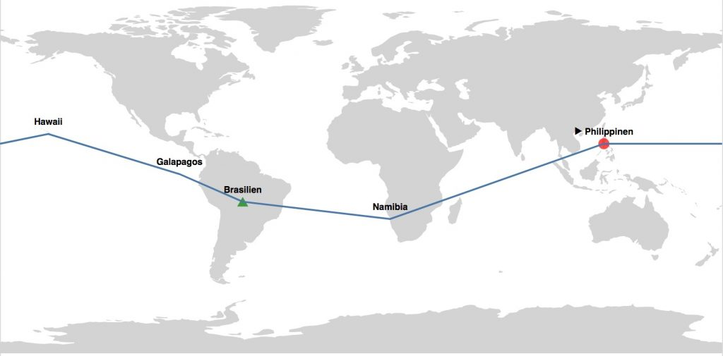Weltkarte mit Route in Vega-Lite