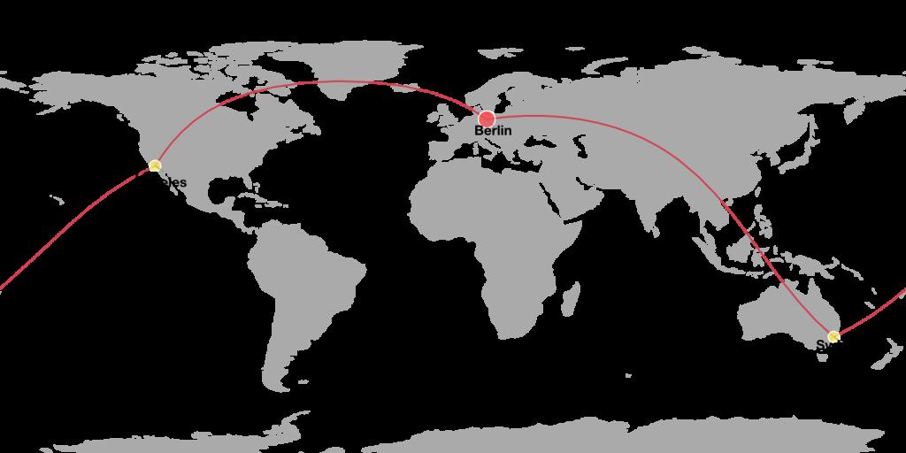 DataMaps-Beispiel: Weltumspannende Reiseroute